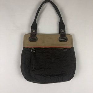 FOSSIL key-per style brown quilt purse